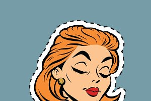 modest retro girl head sticker label