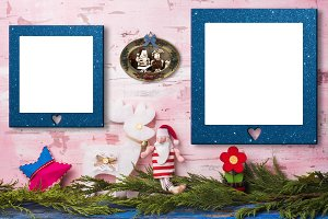 Christmas two empty photo frames