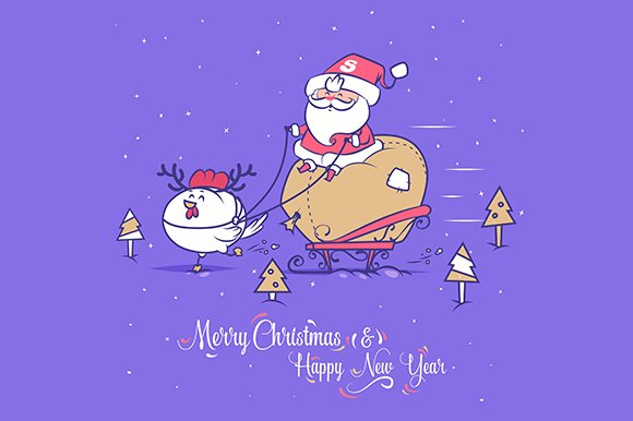 Merry Christmas. Santa and rooster - Illustrations