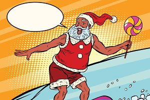 Modern Santa Claus on a snowboard