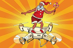 Santa Claus flying on a quadcopter