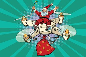 Retro Santa Claus flies on the drone