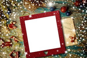 Christmas empty photo frame card
