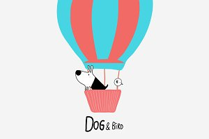 Dog & Bird in a Hot Air Balloon