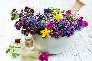 Wild flowers and natural oils