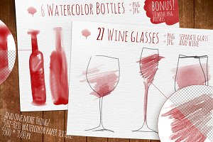 Wine watercolor objects
