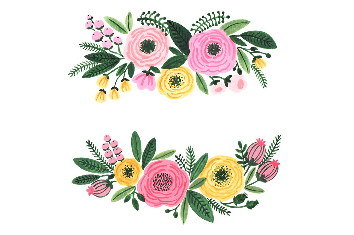 Watercolor garden flowers clipart ~ Illustrations ...