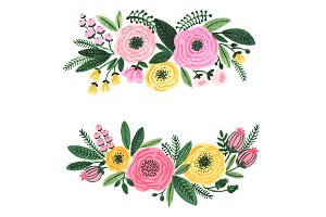 Watercolor garden flowers clipart
