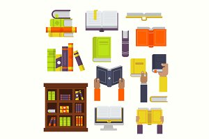 Books vector flat set