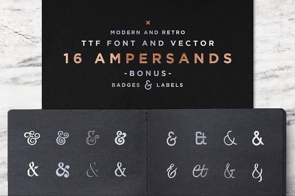 Symbol Fonts: Spensers Family - 16 Ampersands Set
