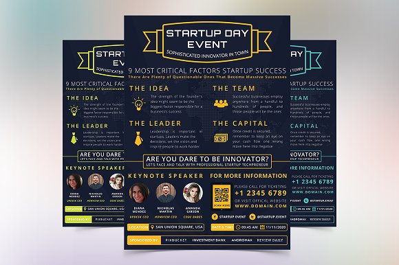 startup day event flyer flyer templates creative market