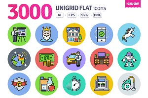 3000 Unigrid Flat icons