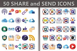 50 Share and Send Icons