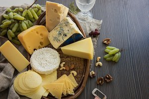 Various types of cheese set