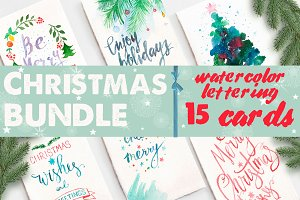 Watercolor christmas cards bundle