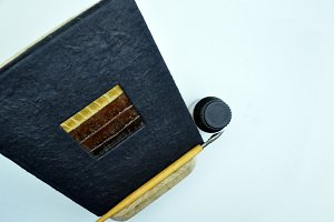 lectern, pen, notepad, inkwell
