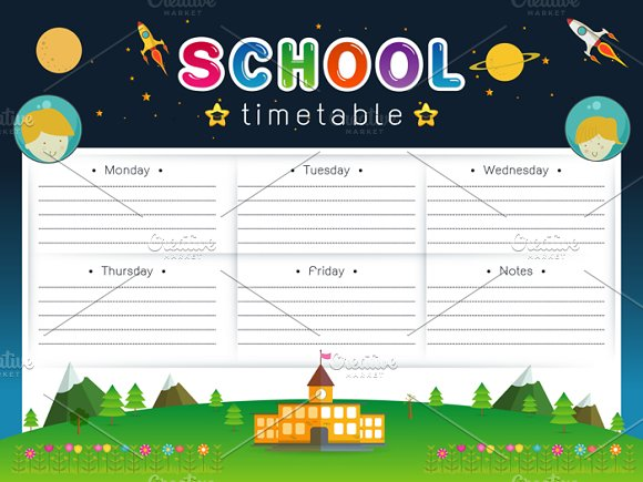 school timetable schedule weekly card templates creative market