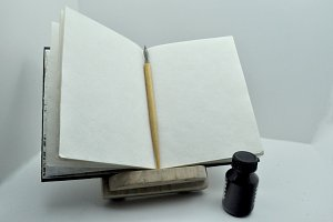 lectern, pen,notepad, inkwell
