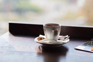 white cup of macchiato