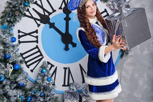 Snow Maiden with gift. Christmas