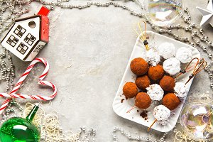 Chocolate truffle candy in Christmas