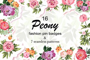 Peony stickers collection