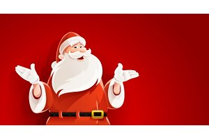 Merry Santa Claus telling christmas story vector