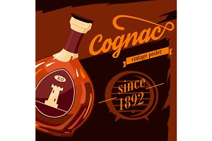 Glassware bottle of cognac