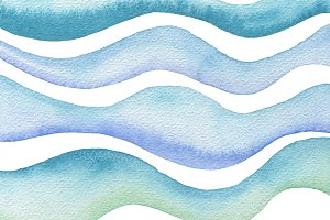 wave watercolor paint isolated