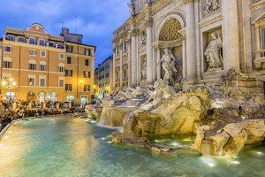 Trevi fountain at night, Rome
