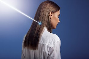 woman with ideal straight hair