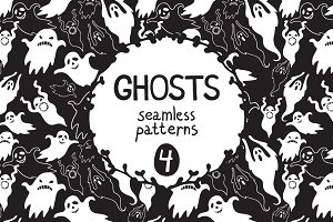 Ghosts seamless patterns