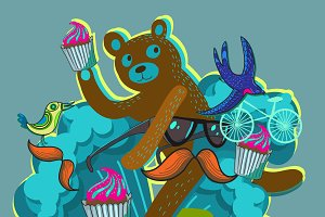 Hipster bear in vector