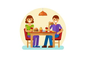 Man & Woman Eating Fast Food