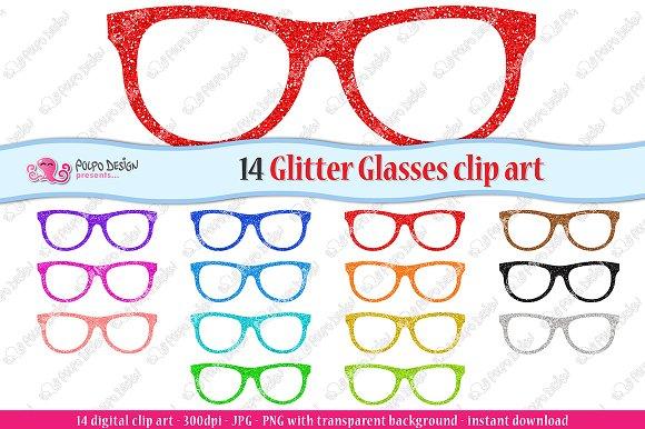 Colorful Glitter Glasses Clipart