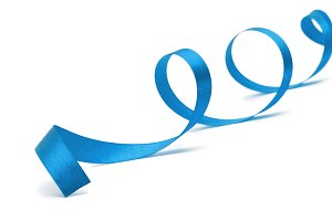 blue ribbon on white