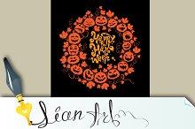 Halloween card - pumpkin silhouettes