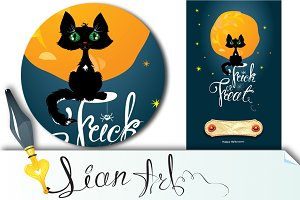 Halloween night: cat on moon and sky