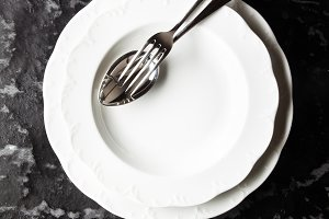 Empty Plate on a dark background