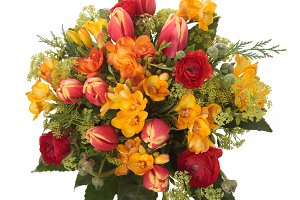 Tulip and freesia flowers bouquet