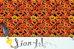 Halloween seamless pattern - pumpkin
