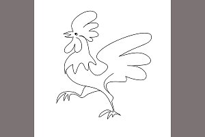 Rooster black line art sketch