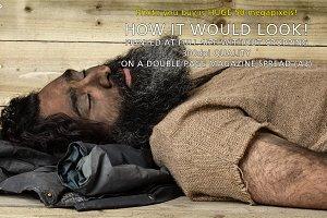 Sleeping beggar or homeless man