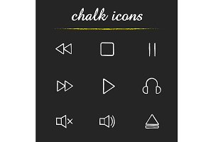 Music player. 9 icons. Vector