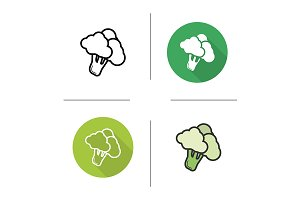 Broccoli. 4 icons. Vector