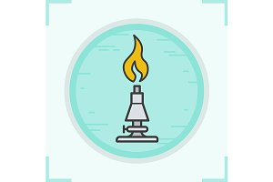Chemical lab burner icon. Vector