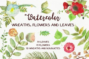 Watercolor Flowers and Leaves Pack