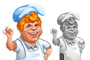 Cheerful chef gesturing OK sign