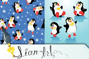 funny penguins and snowflakes