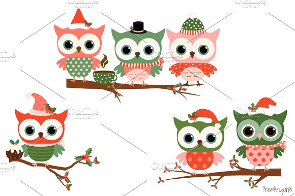 Cute Christmas Owls Clip Art Set